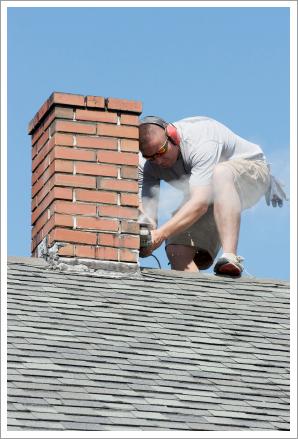 Man repairing chimney||||