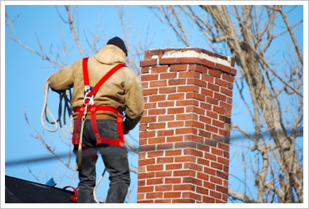 Chimney sweep at work||||
