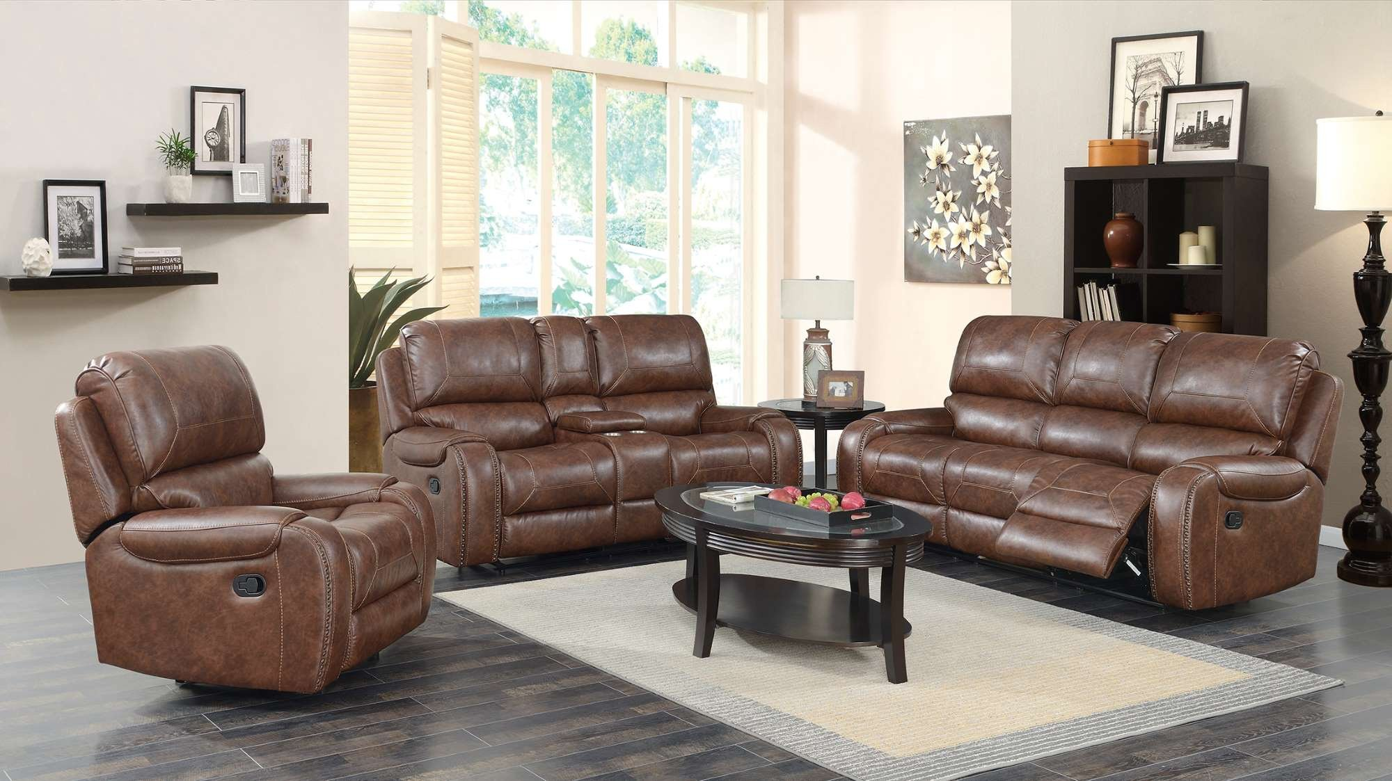 LRPX2995 Caramel Reclining Sofa and Loveseat