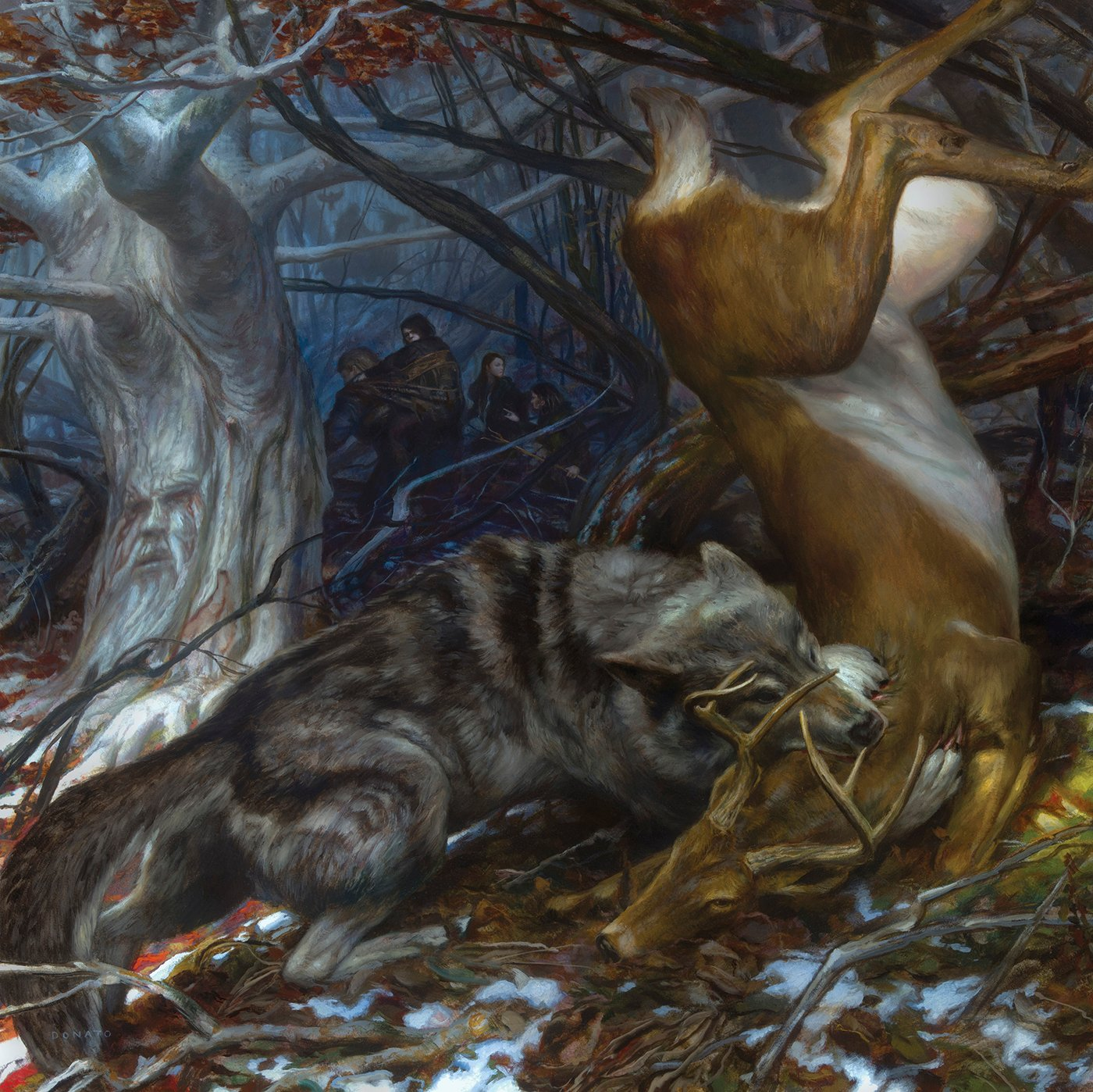 "North of the Wall - Brandon Stark 30"" x 30""  oil on Panel  2014 Collection of George R.R. Martin"