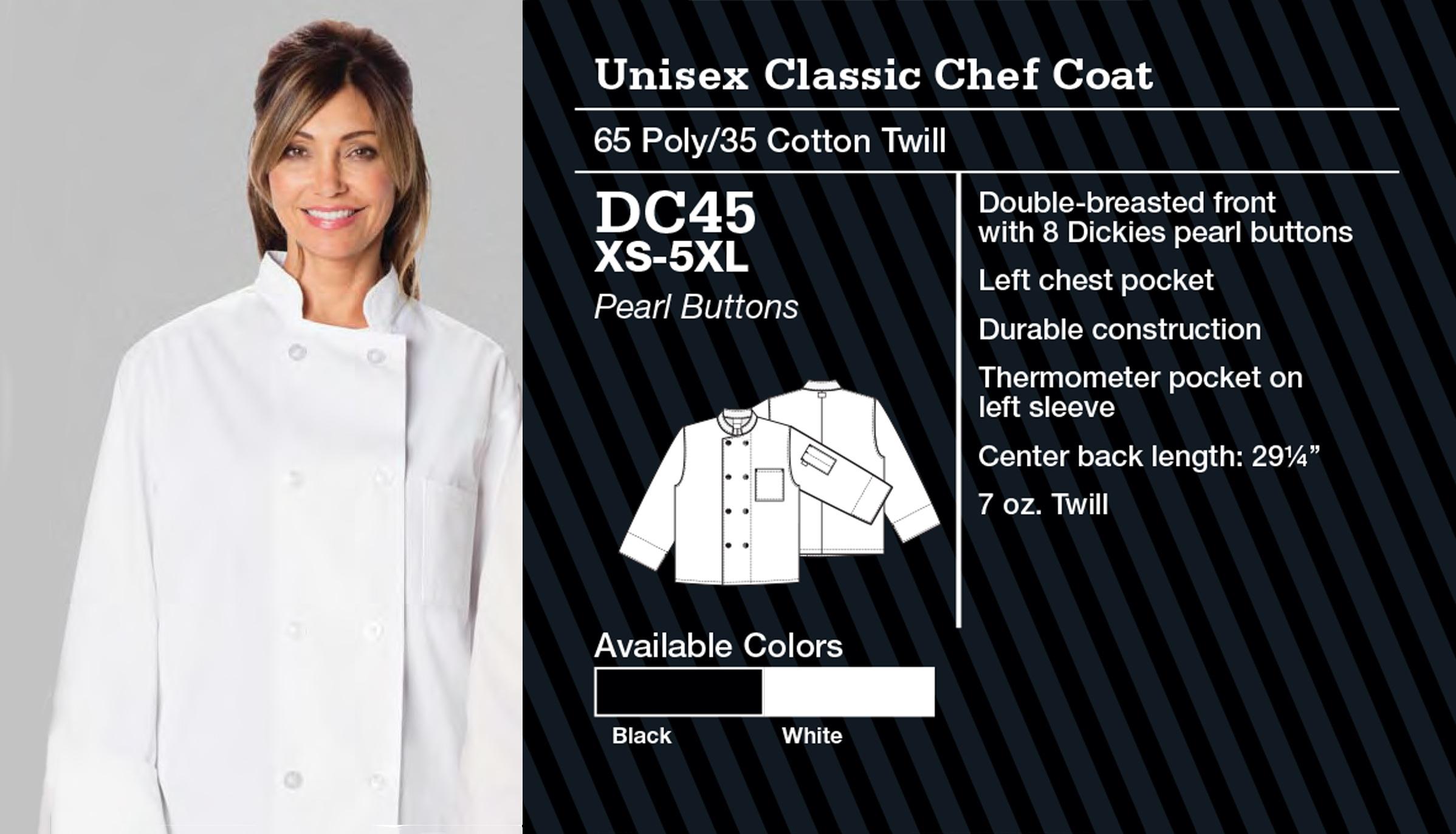 Abrigo de Chef Clásico Unisex. DC45.