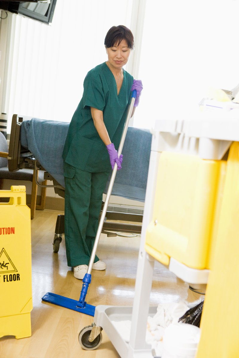 Mopping the floor in hospital||||