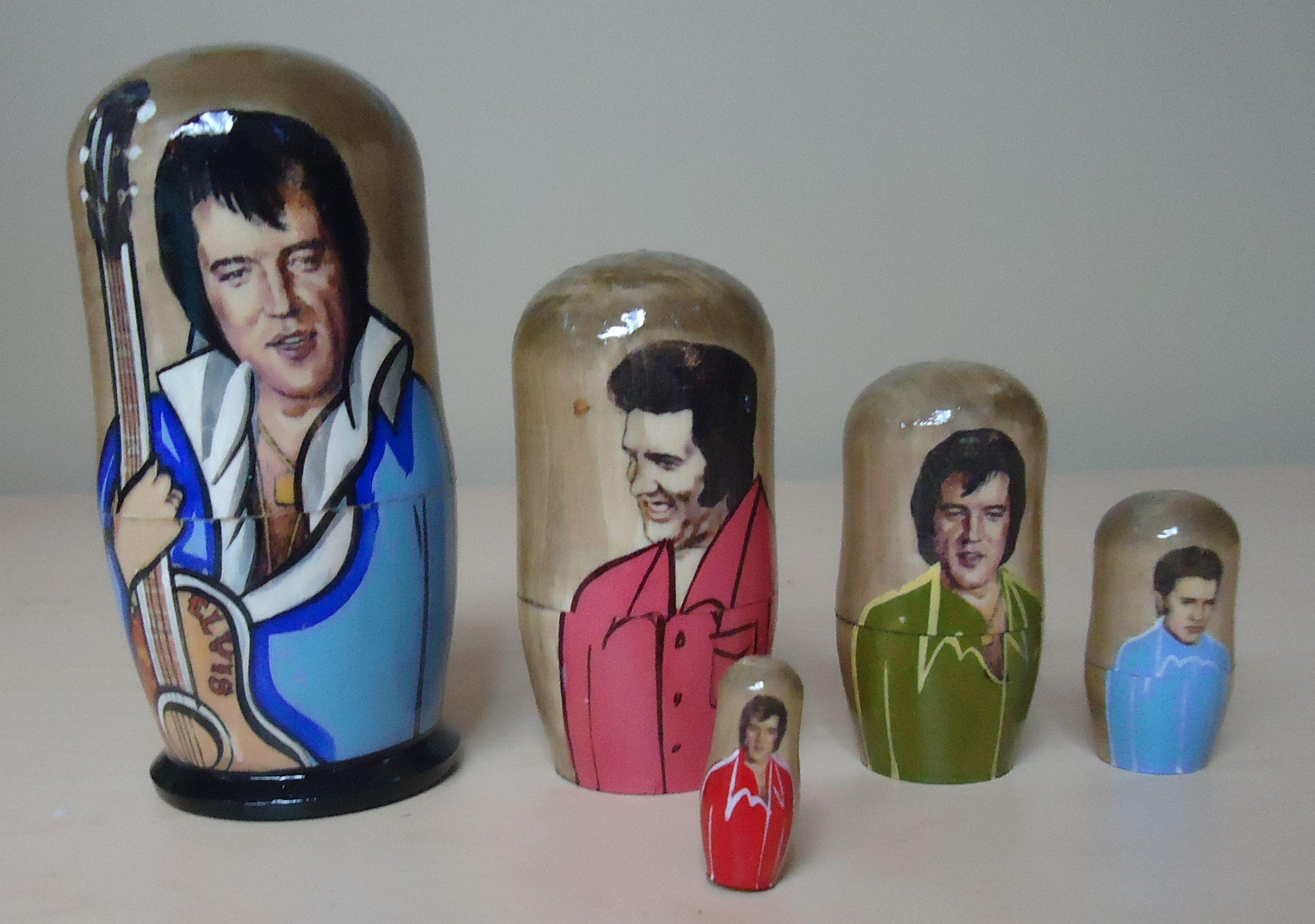 "(14) ""Elvis Presley"" Hand Painted Nesting Dolls $35.00"