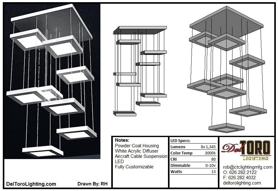106P-Cascading Tile Pendant