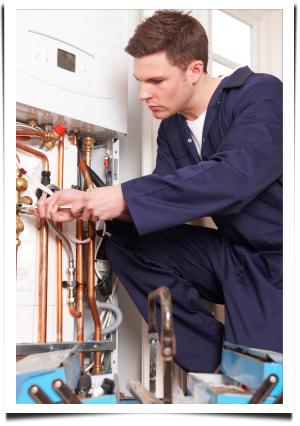 Man repairing heater||||