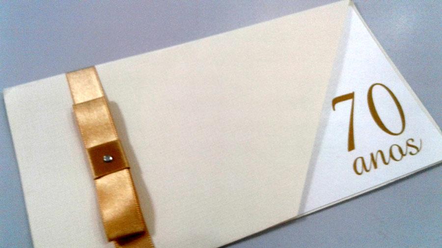 Convite 70 anos dourado