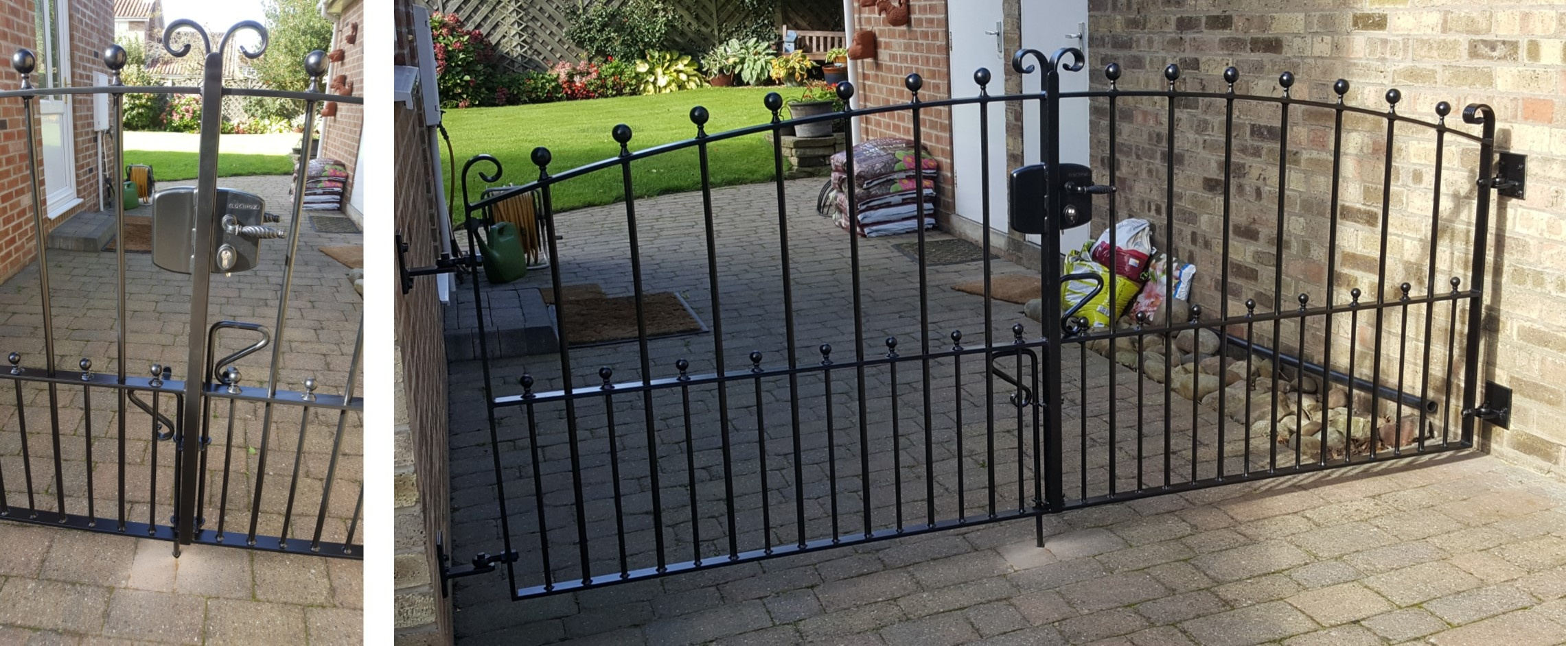 Double gates with dog bars & security lock.