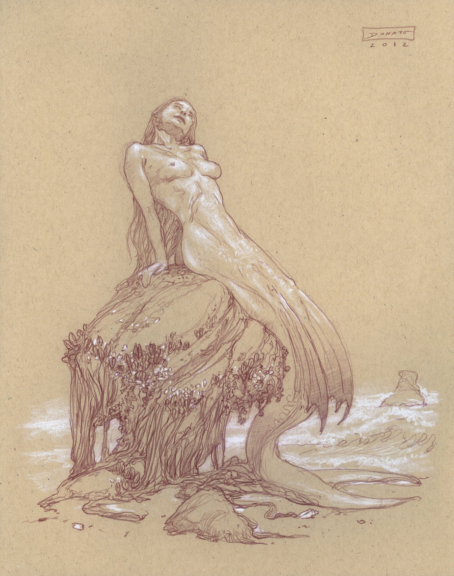"Mermaid - Curiosity14"" x 11""  Watercolor Pencil and Chalk on Toned Paper original art available for purchase"