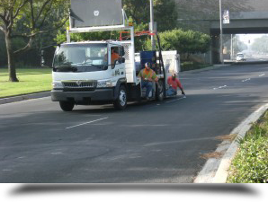 Markings being put on road    