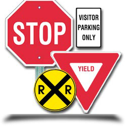 Stop sign and other signs||||