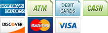 We accept American Express, ATM, Debit, Cash, Discover, MasterCard and Visa.||||