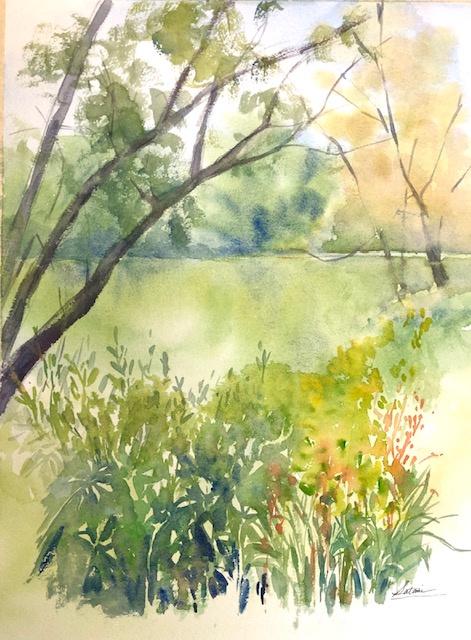 "Kaufman Lake Watercolor 10.5"" X 13.5 $250."