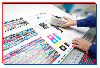 Operator's Measuring Colors With Offset Printing