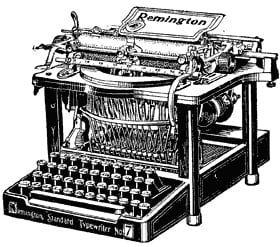 Ink drawing of an old mechanical typewriter