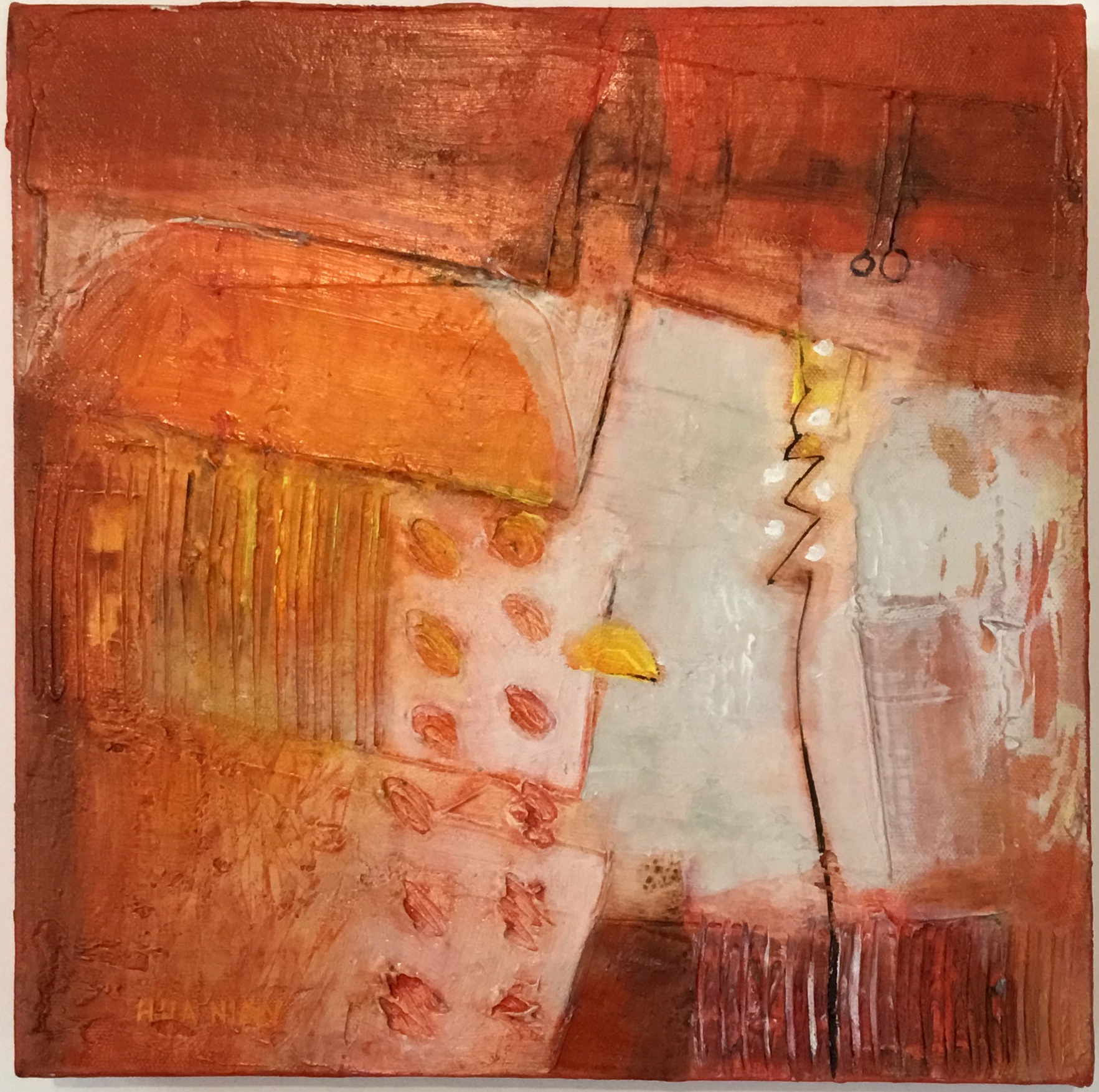 "Orange Dome acrylic on canvas 12"" X 12"" $250. SOLD"