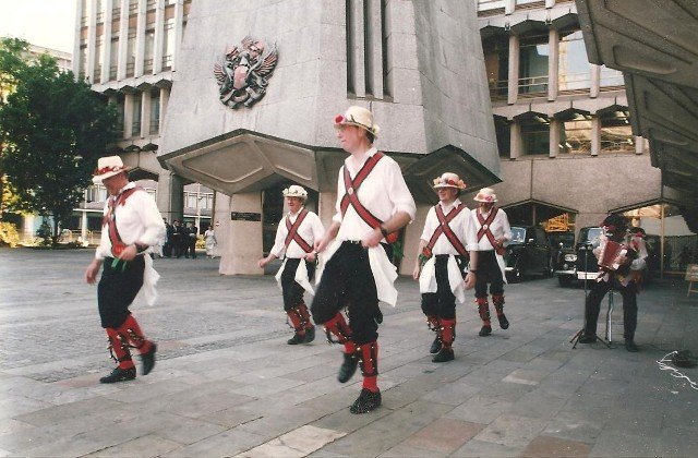 Merrydowners performing outside Guild Hall London - Euro 96 Football reception