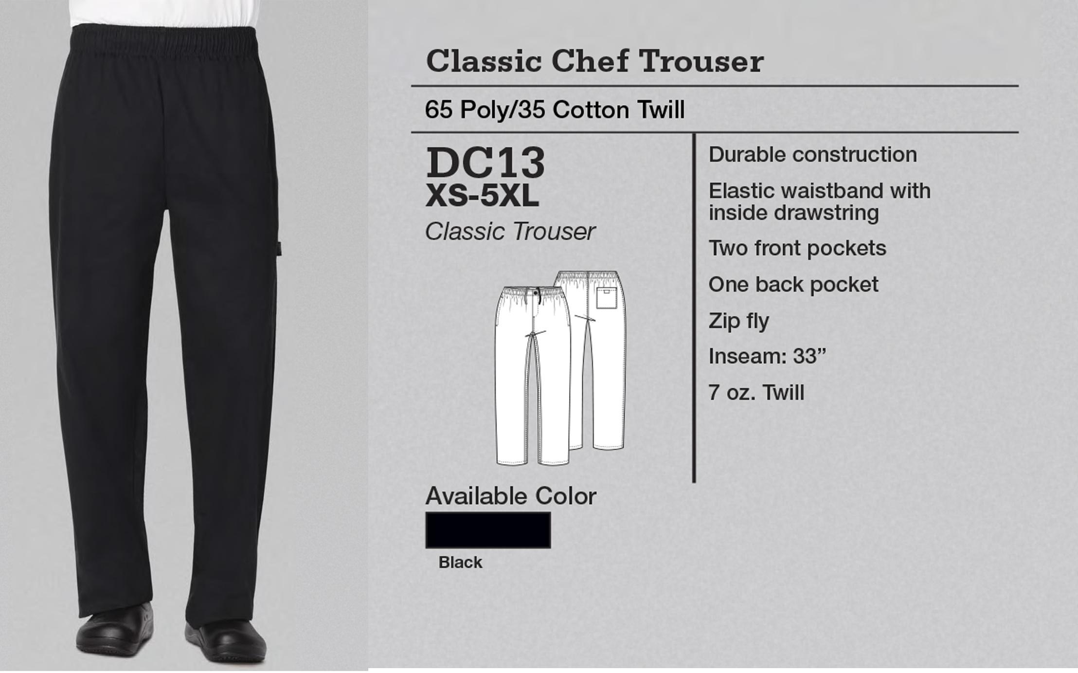 Pantalón de Chef Clásico. DC13.