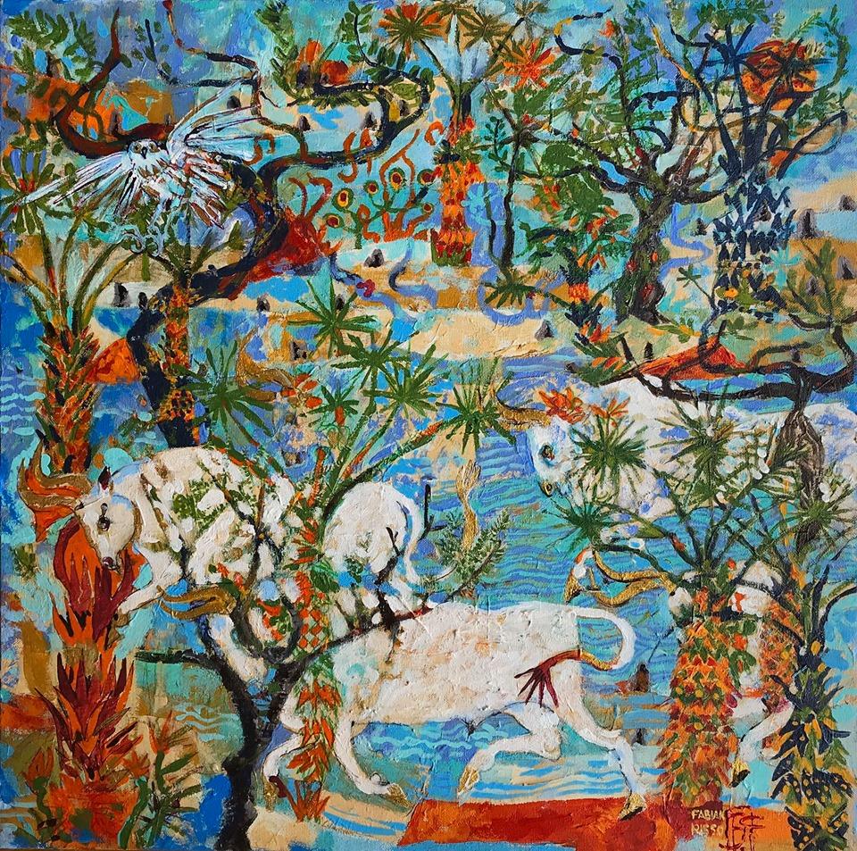 Los blancos toros de Poseidón Acrílico s/tela 50 x 50 cms