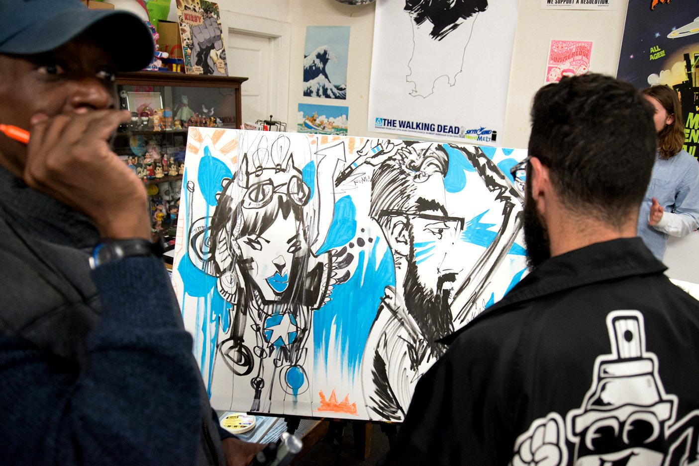 Overton Loyd with Jim Mahfood at Melt Gallery, Los Angeles CA, 2016
