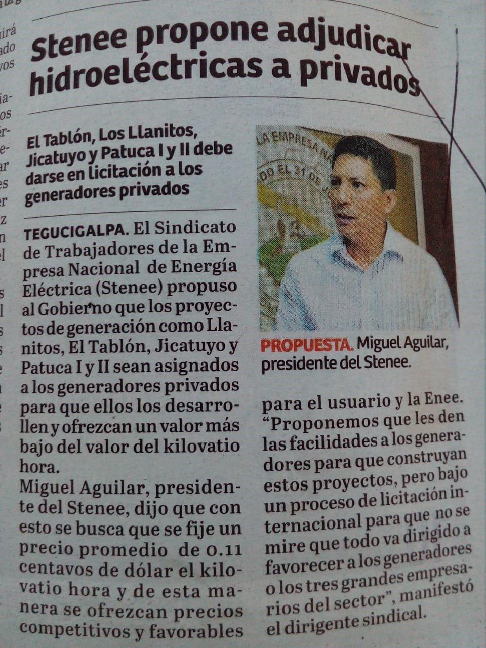 Declaraciones del Presidente Aguilar