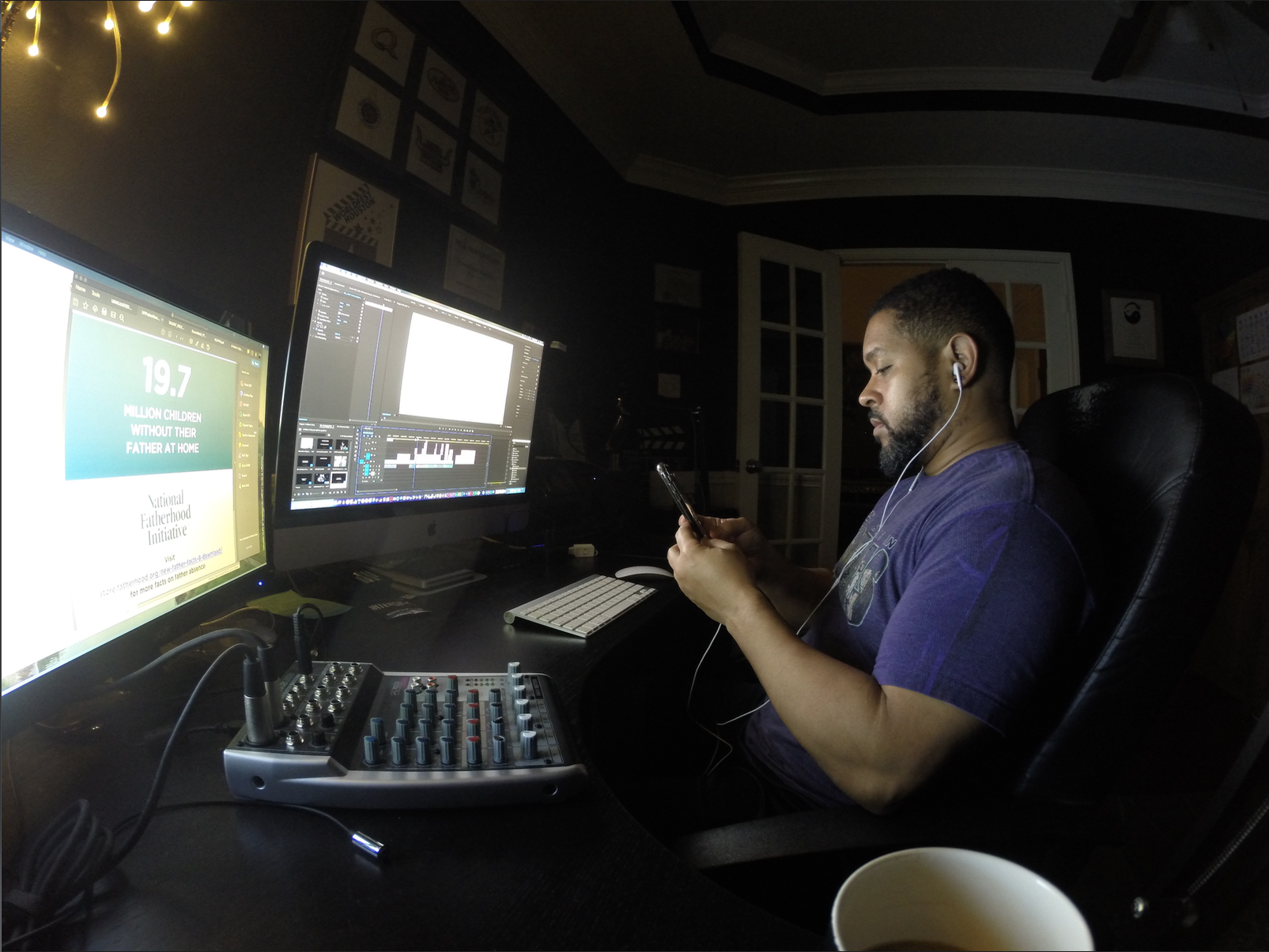 "BTS: Late night in the editing suite for, ""A Father's Day"""