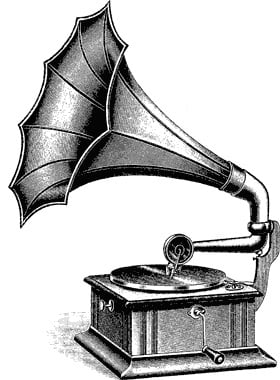 Drawing of old gramophone (record player)