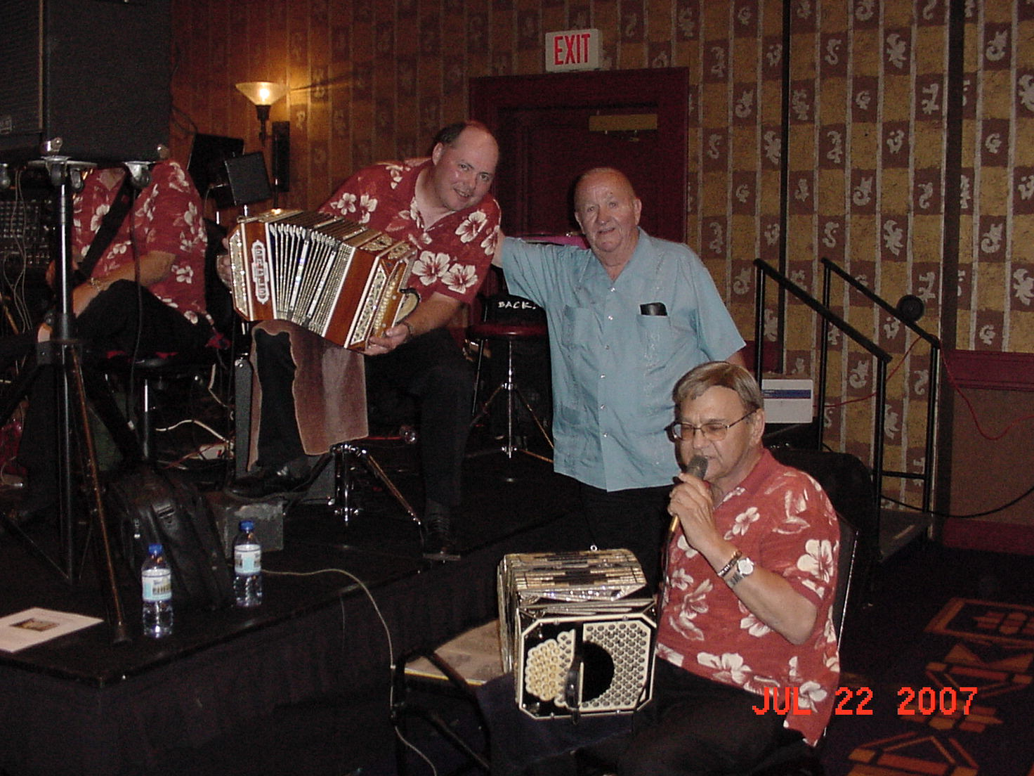 Surrounded by my favorite concertina players; Tom Kula and Casey Homel at the casino in Green Bay, WI