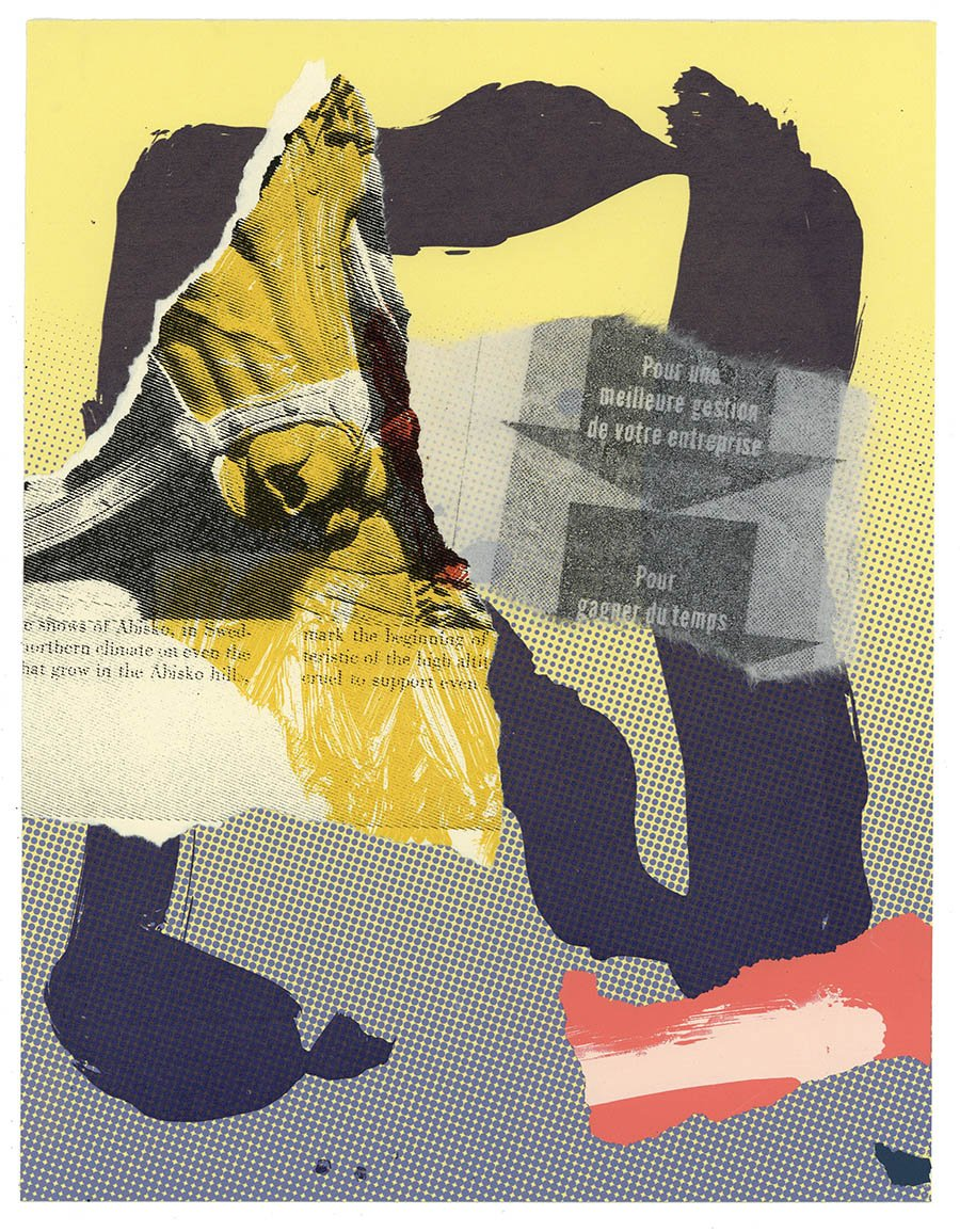 "Bit and Bridle (Epigram) Screenprint with torn and pasted screeprints and chine colle on paper. 8.5"" X 11"""