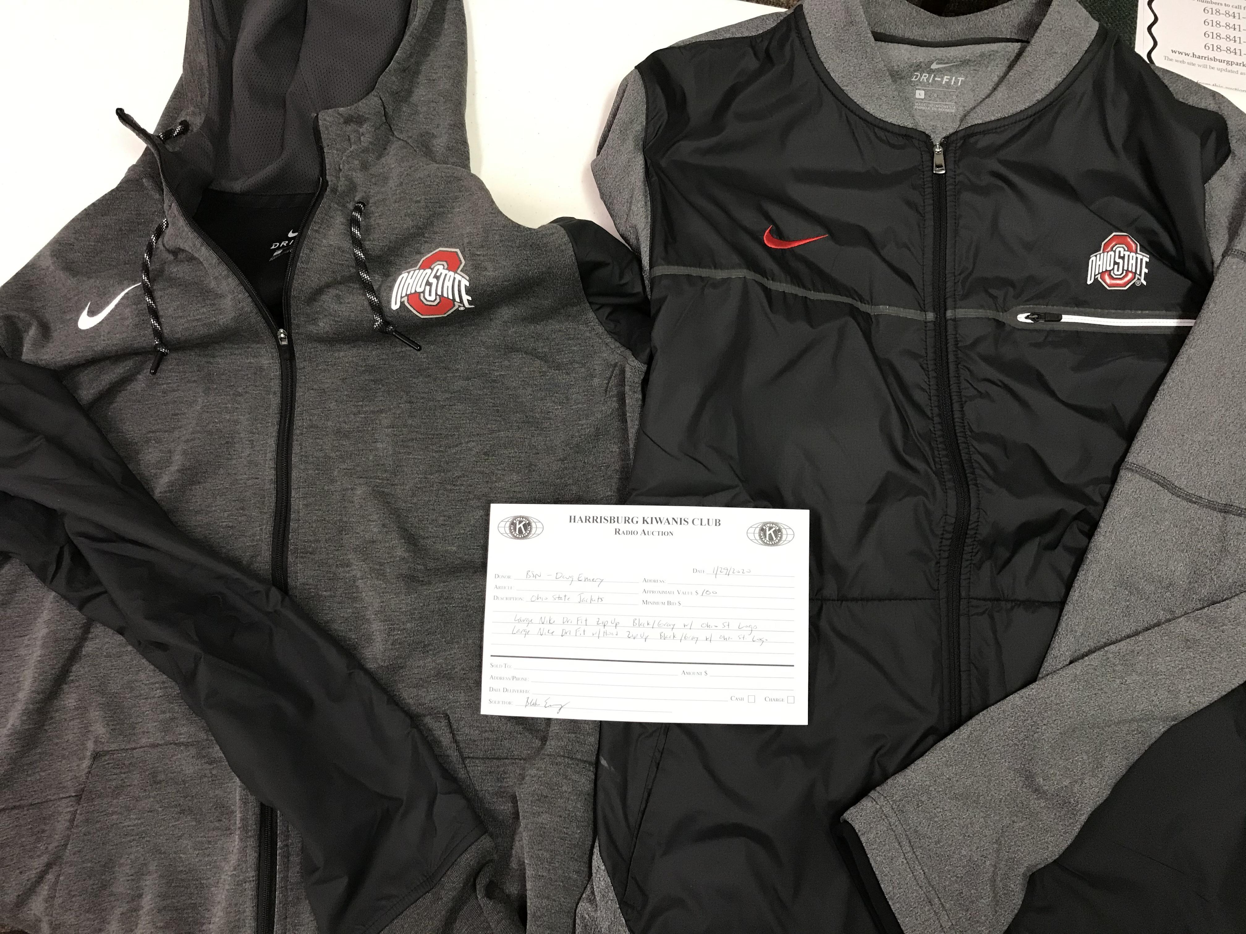 Item 223 - BSN - Doug Emery Nike Ohio St Jackets - Large Dri-Fit Zip Up, Large Dri-Fit Zip Up with Hood