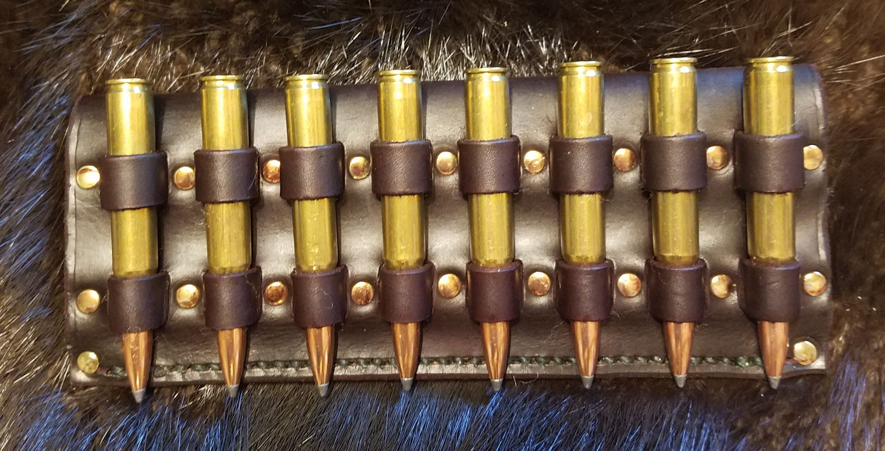 30-06 ammo holder, hand tooled and stitched,   $55.00