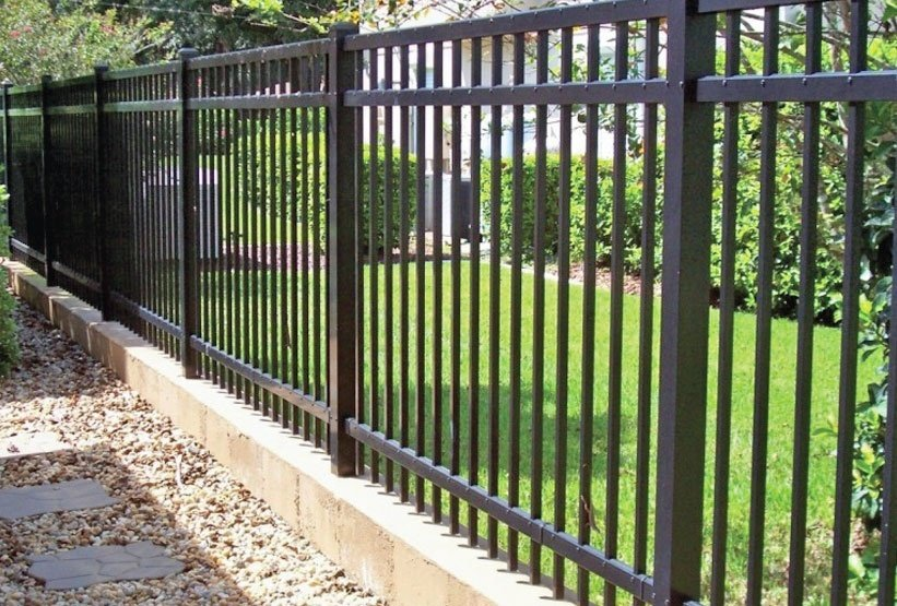 Black 3 Rail Aluminum Fence With Picket Through Bottom Rail