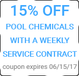 15% off Pool Chemicals with a weekly service contract, Exp. 6/15/17