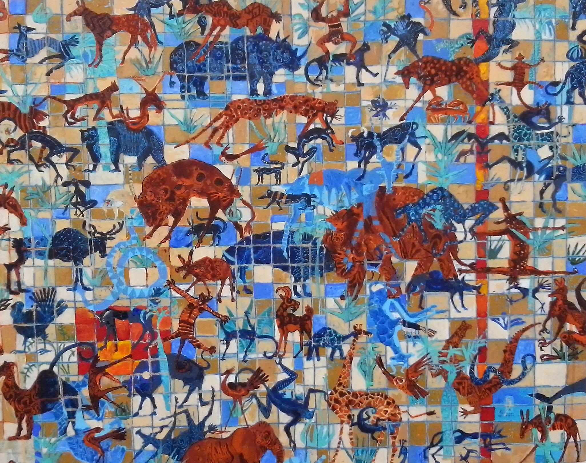 Zoología en Azul Mixta s/tela 80 x 100 cms
