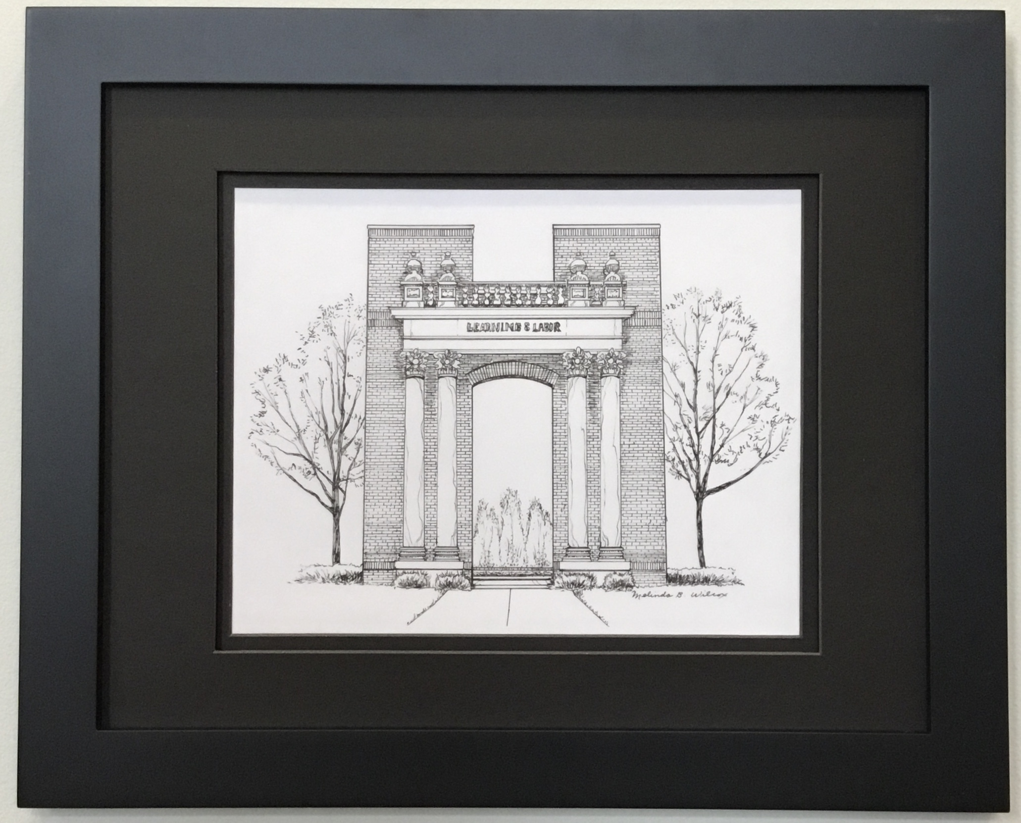 """Learning and Labor Pen & Ink 10"""" X 8"""" $150."""
