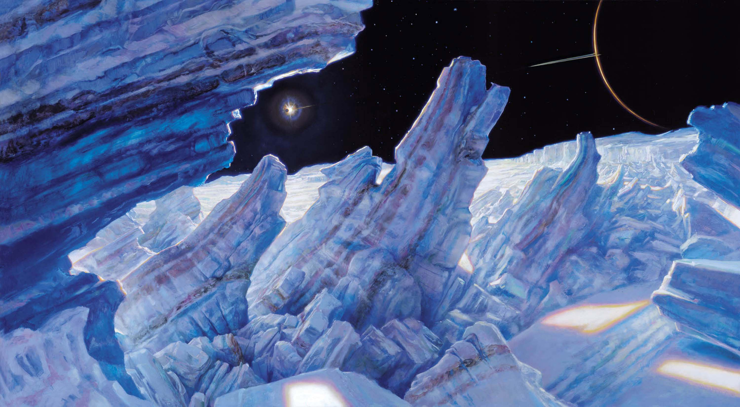 "Ice Sheet Fracturing on Europa, Moon of Jupiter 26"" x 65""  Oil on Panel  2000 private collection"