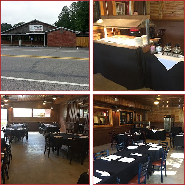 Collage of Restaurant Exterior, Food Catering Station, Event Area, Event Space