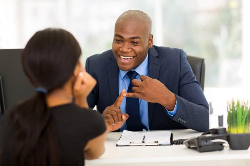Businessman with client