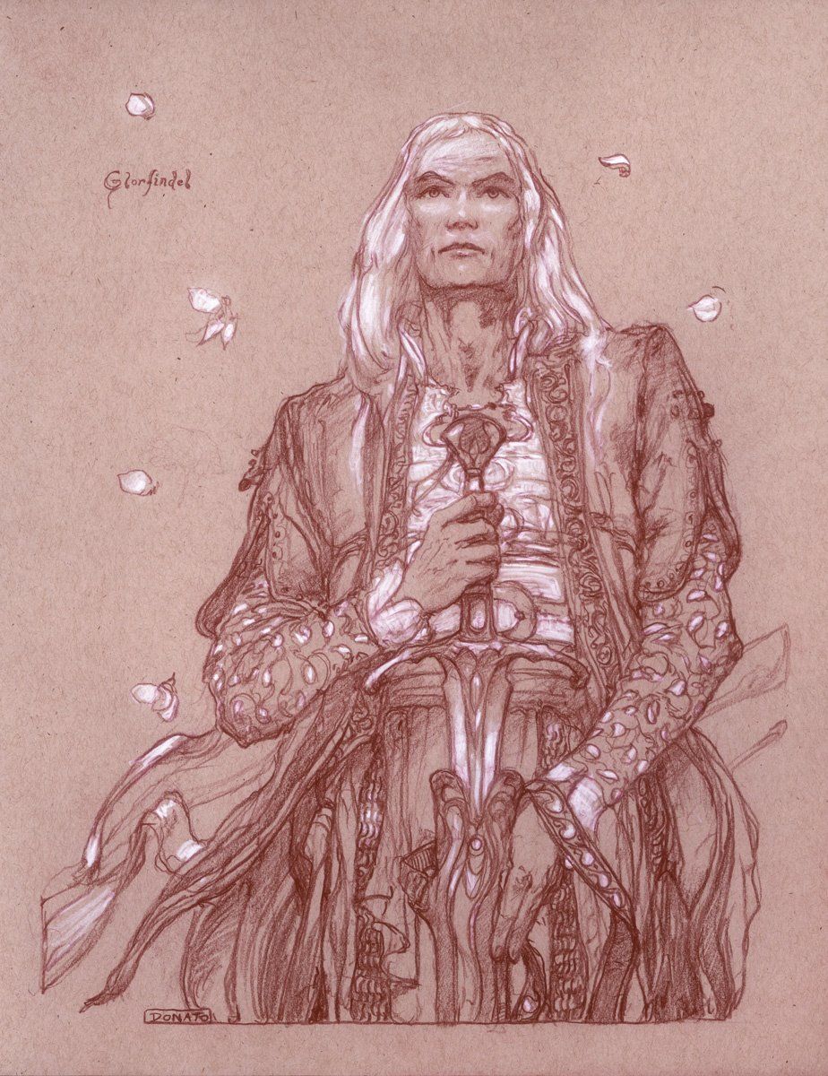 "Glorfindel 14"" x 11""  Watercolor Pencil and Chalk on Toned paper 2018 available for purchase"