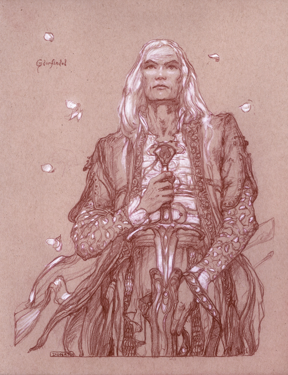 "Glorfindel 14"" x 11""  Watercolor Pencil and Chalk on Toned Paper 2018 Illustration for The Lord of the Rings by J.R.R. Tolkien"
