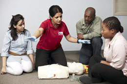 Students in Red Cross CPR/AED training