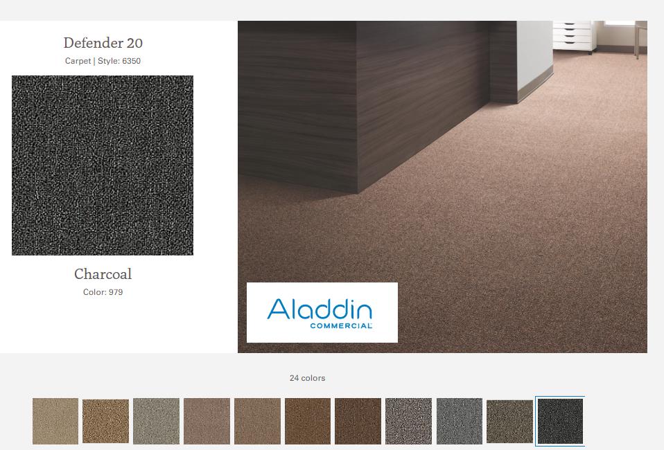 DEFENDER  alfombra argollada  plano  100% Polipropileno  .  Tráfico comercial liviano  -  (678 g/m2)