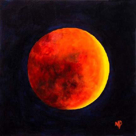 """Lunar Eclipse  6"""" x 6""""  Oil on Canvas Panel  SOLD"""