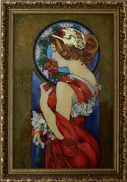 """""""Dawn"""" imitation of A.Mucha by Nataliya Guchenia  Size - 18""""H X 12""""W $425.00"""