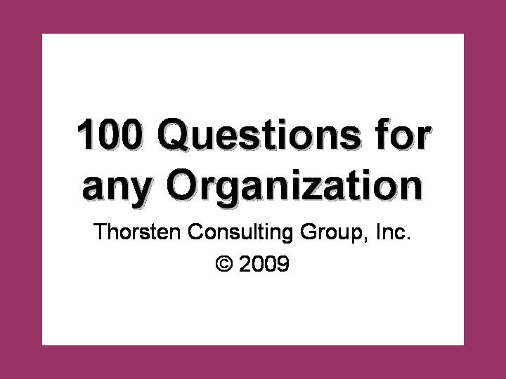 100 Challenging Questions for any Organization - Thorsten Consulting Group
