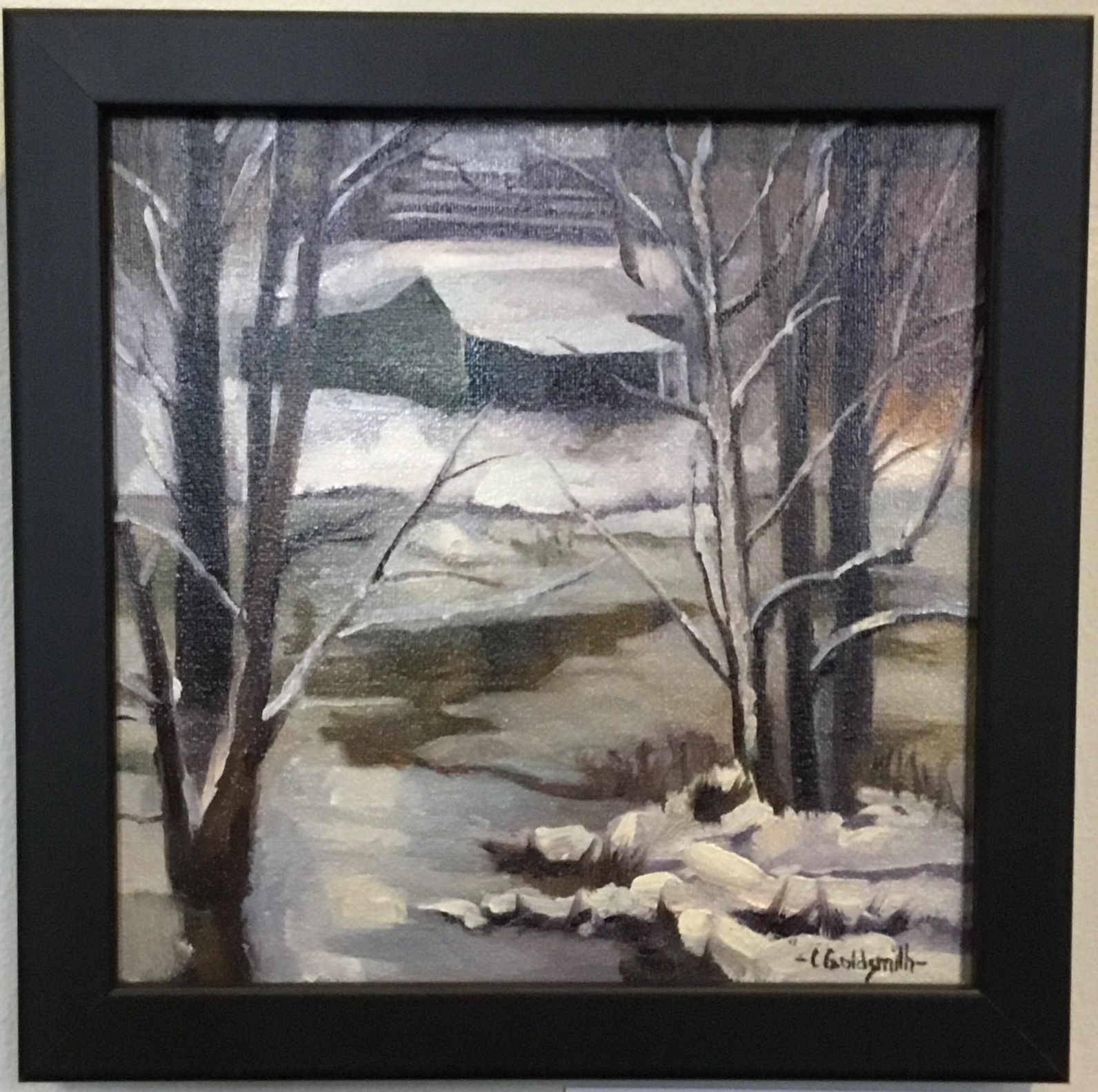 "Flood and Snow in Monticello Oil on linen panel 8"" X 9"" $225."