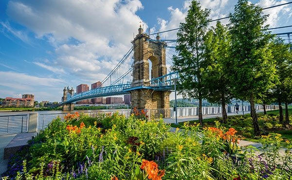 Roebling Suspension Bridge in Cincinnati