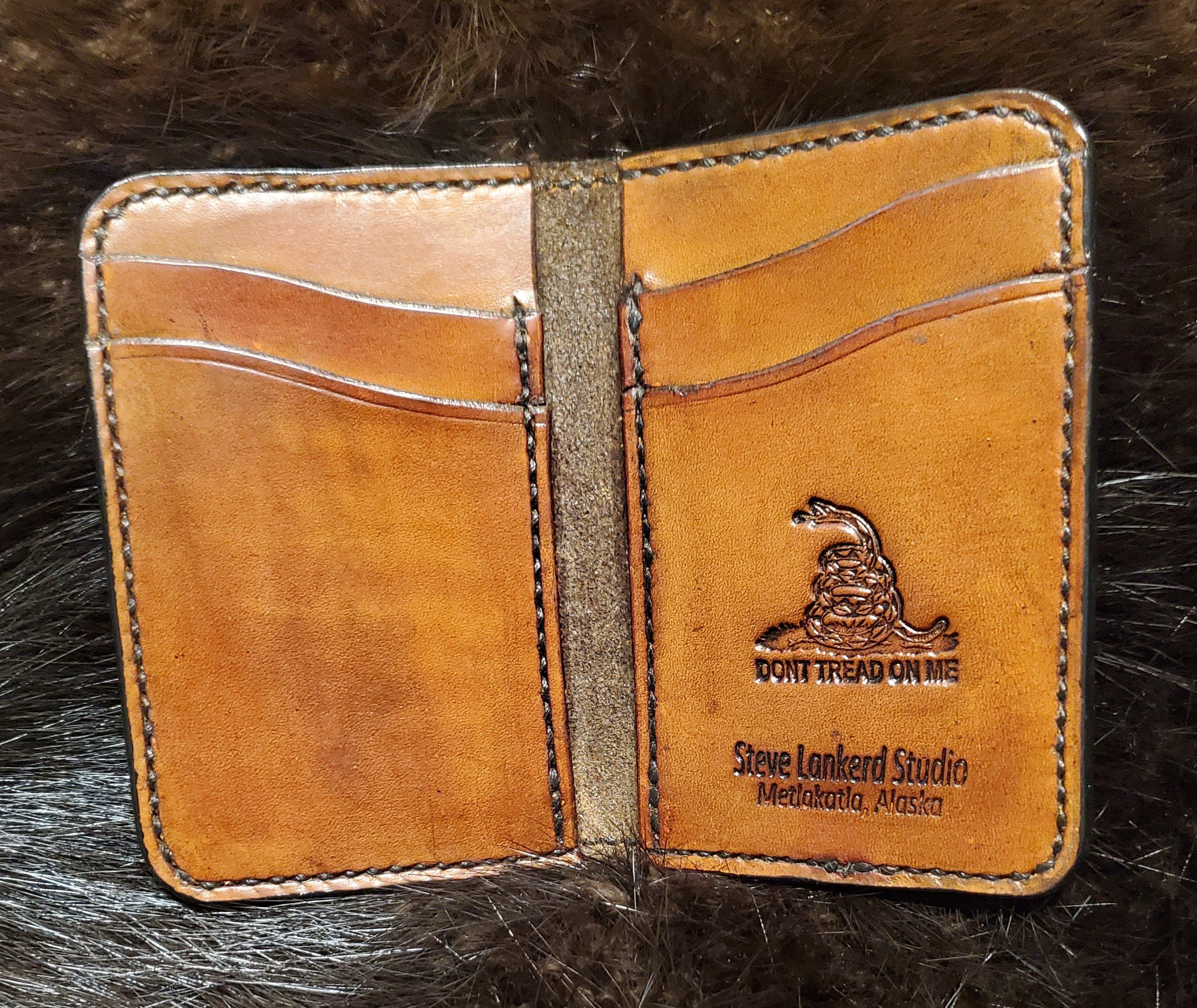(Inside) Minimalist 4 pocket, hand tooled hand stitched...   $75.00