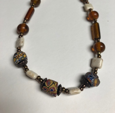 "Handcrafted 18"" Necklace Slave trade beads, Czech glass, metal & bone beads $38"