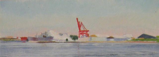 28. Baltimore Harbor Scene, 3x8 oil on panel