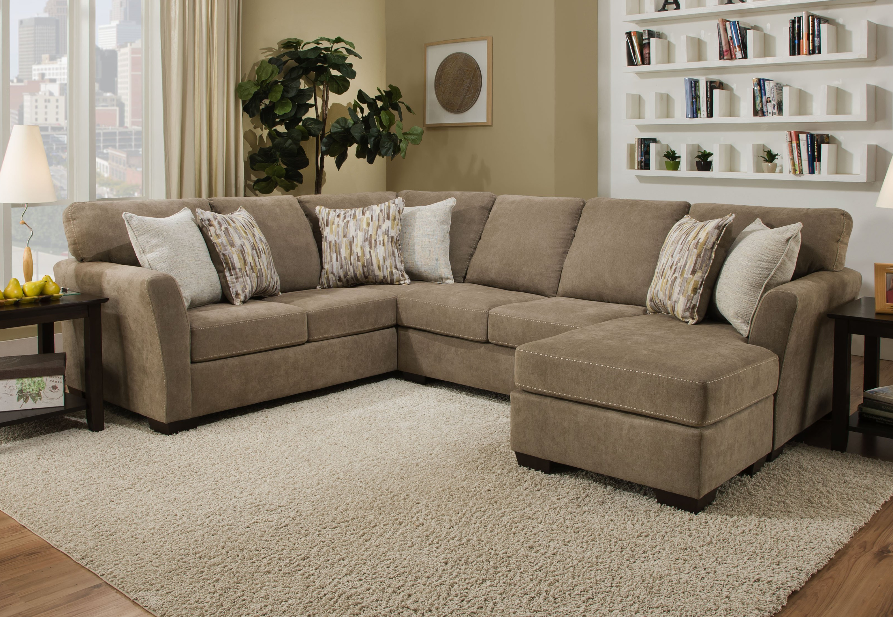 7058 Simmons Sectional Sofa Mocha